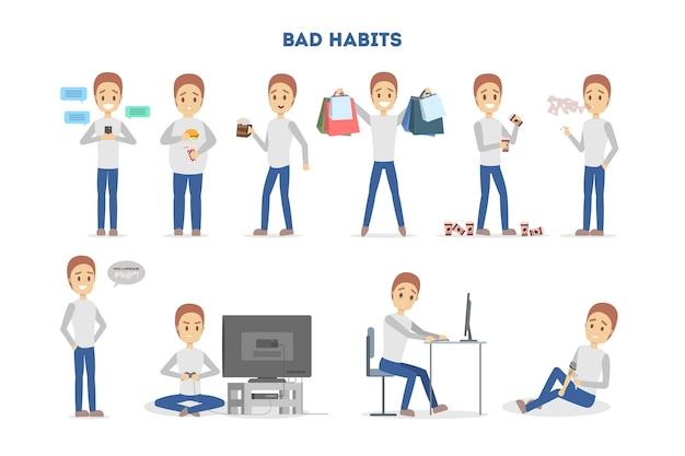 Mann mit schlechten gewohnheiten eingestellt. alkohol- und kaffeesucht, junk food essen und spielen. ungesunder lebensstil und lebensgefahr. vektor flache illustration