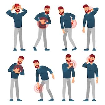 Mann mit schmerzen. krankheit männer schmerzen bereiche, migräne kopfschmerzen und bauchschmerzen. schmerzhafte schmerzzonen-karikaturvektorillustrationssatz