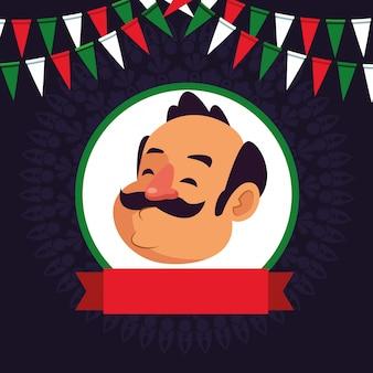 Mann mit schnurrbartavatara-zeichentrickfilm-figur