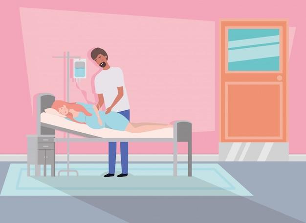 Mann mit schwangerschaftsfrau im krankenhauszimmer