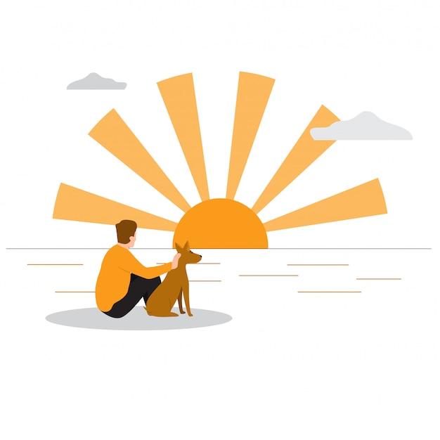 Mann mit seinem hund am strand im sonnenuntergang.