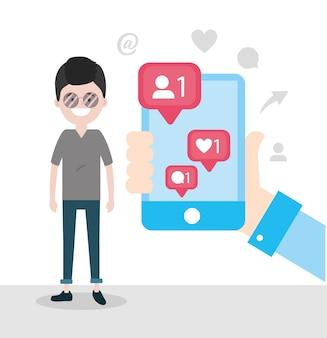 Mann mit smartphone in der hand- und chatmitteilung