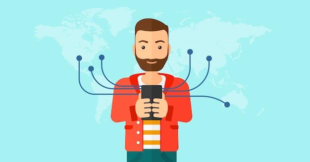 Mann mit smartphone.