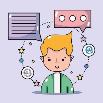 Mann mit social media-technologie zur kommunikationsvektorillustration