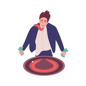 Mann mit spielsucht isoliert auf weißem hintergrund. spieler, süchtig nach roulette oder casino-spiel. verhaltensproblem, psychiatrische erkrankung. flache cartoon bunte vektor-illustration.