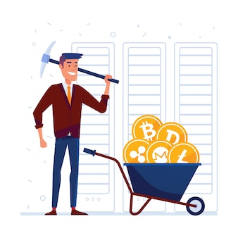 Mann mit spitzhacke und karren voller kryptomünzen