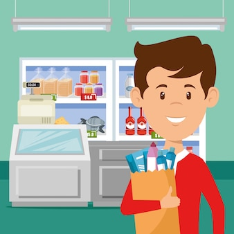 Mann mit supermarkt lebensmittel in einkaufstasche Kostenlosen Vektoren