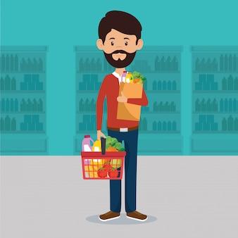 Mann mit supermarkt lebensmittel in einkaufstasche