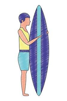 Mann mit surfbrett avatara charakter