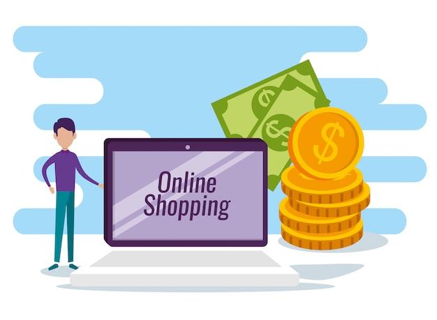 Mann mit tabelle e-commerce-technologie und online-verkauf
