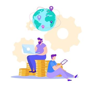 Mann mit tablet und laptop. online verdienen.