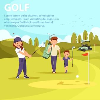 Mann mit tasche leading son golf zu spielen