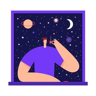 Mann mit tasse tee, kaffee, im fenster, die aussicht auf den sternenhimmel und den mond der nacht genießend. männlicher moderner charakter und raumforschung. flache illustration.