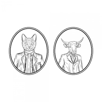 Mann mit tier-haupthandzeichnungs-illustration
