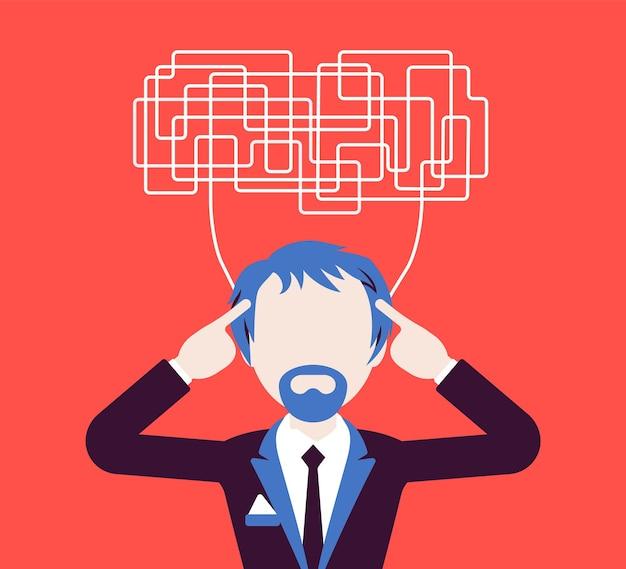 Mann mit verwirrten gedanken, die nicht klar denken können, um eine entscheidung zu treffen. komplizierte und chaotische ideen in unordnung, manager ratlos mit aufgaben, kopf voller probleme. vektorillustration, gesichtsloser charakter
