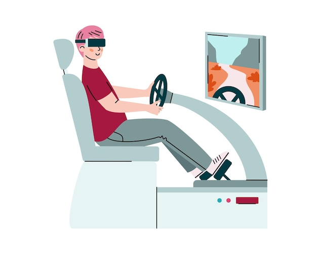 Mann mit vr-brille spielt oder lernt autofahren in virtueller augmented reality