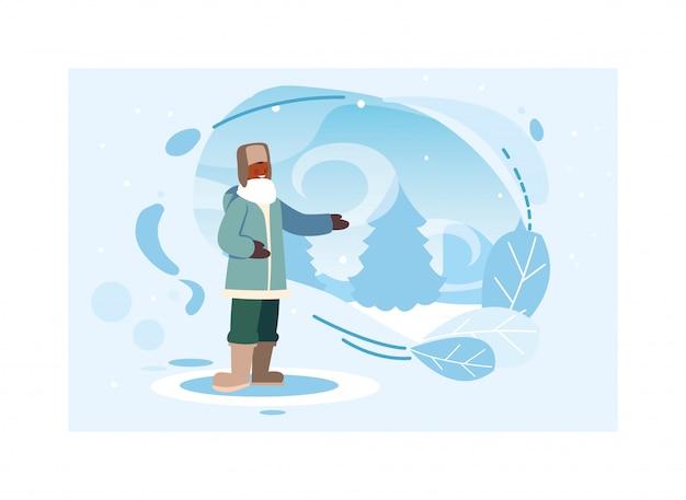 Mann mit winterkleidung in der landschaft mit schneefällen