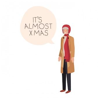 Mann mit winterkleidung und spracheblase