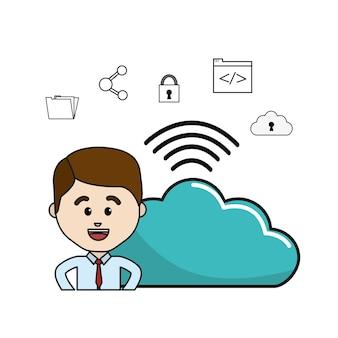 Mann mit wolkendaten wifi und technologieikonen