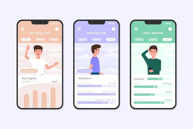 Mann mit zielen smartphone app-vorlage