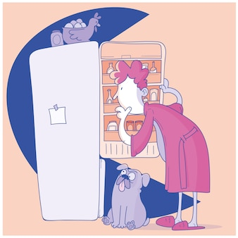 Mann öffnet kühlschrank, der nach einem snack sucht
