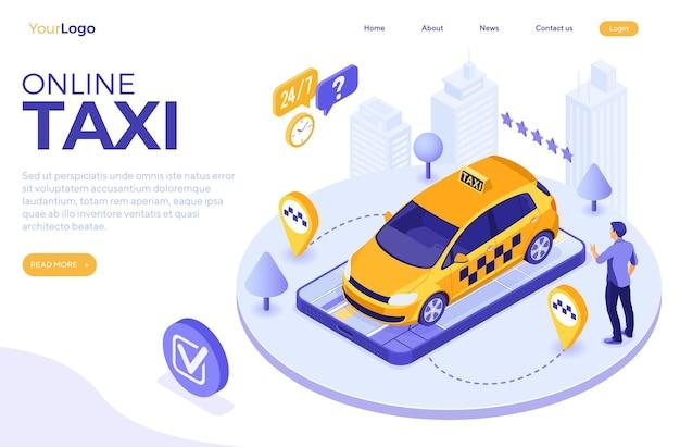 Mann online bestellt taxi vom smartphone