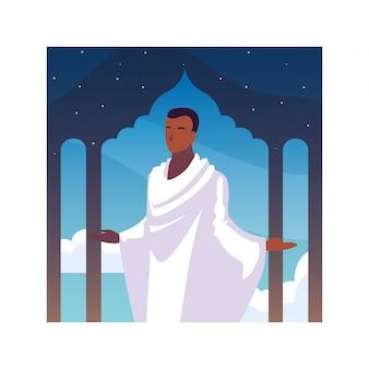 Mann pilger hadsch stehend, tag des dhul hijjah