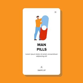 Mann-pillen für gesundheitsproblem-behandlung-vektor. medizinmann-pillen zur behandlung von krankheiten, medizinisches arzneimittel. charakter-jungen-krankheit, gesundheitswesen-therapie-netz-flache karikatur-illustration