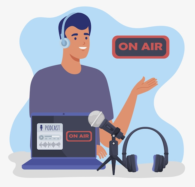 Mann-podcaster auf sendung