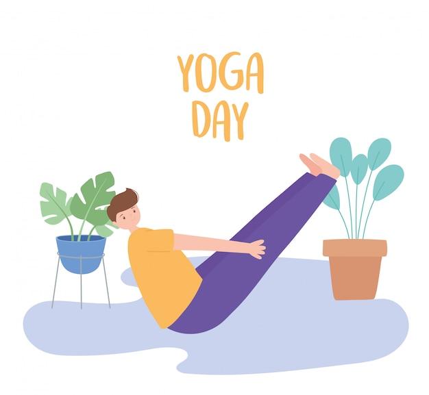Mann praktiziert yoga navasana pose übungen, gesunde lebensweise, physische und spirituelle praxis illustration