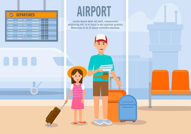 Mann reise mit mädchen und gepäck mit dem flugzeug