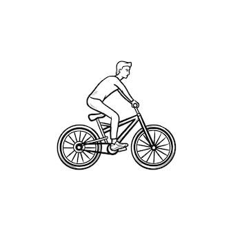 Mann reiten fahrrad hand gezeichnete umriss-doodle-symbol. radrennen, outdoor-sport, gesundes lifestyle-konzept