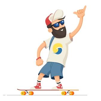 Mann reiten longboard