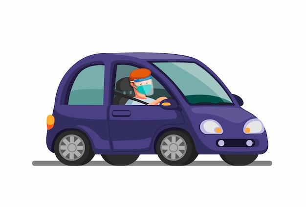 Mann reitendes auto tragen maske und gesichtsschutz