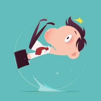 Mann rutschte auf eine wasserpfütze, illustrations-vektor
