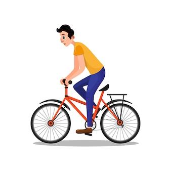 Mann-schauspieler, der auf fahrrad-flacher zeichentrickfilm-figur hetzt