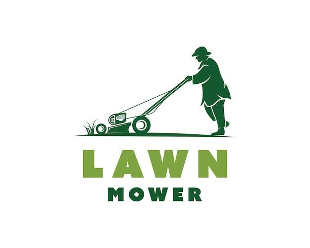 Mann schiebt rasenmäher-logo rasenmäher landschaftsbau logo-design-vorlage