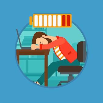 Mann schläft am arbeitsplatz.
