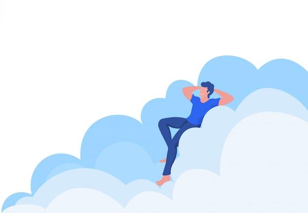 Mann schläft auf wolke