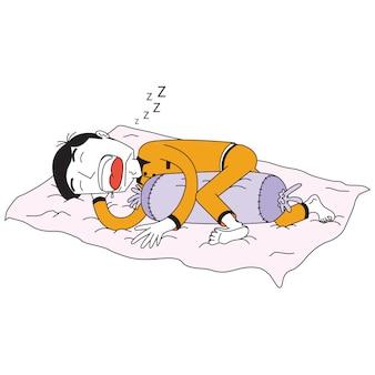 Mann schläft mit einem kissen