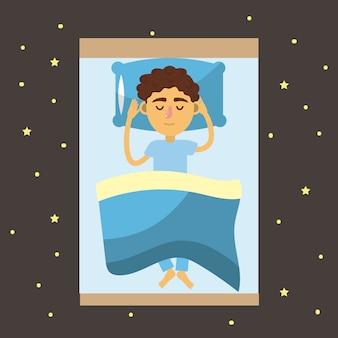 Mann schläft und gute nacht