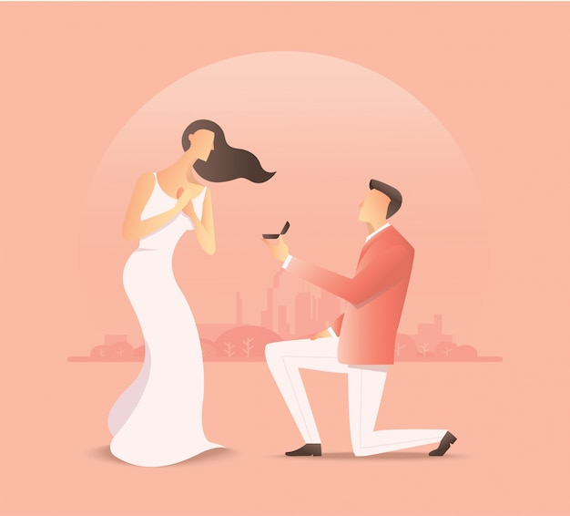 Mann schlägt der frau vor, heiratsantrag