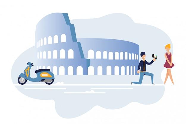 Mann schlagen verbindung während der romantischen moped-reise vor
