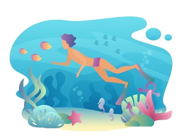 Mann schnorcheln schwimmt unter wasser. sommersport freizeit. männliches tauchen