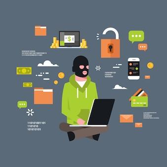 Mann-schwarze maske, die am computer sitzt