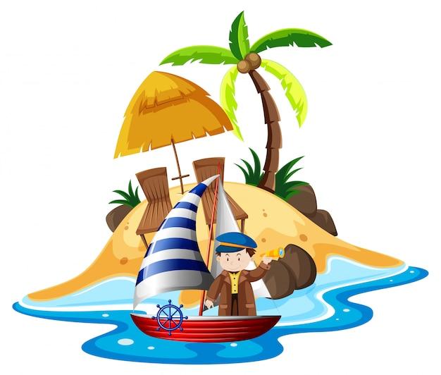 Mann segelboot in see