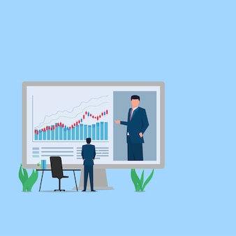 Mann siehe video auf dem monitor über stock learning metapher des webinars. business flat illustration.