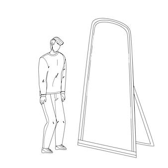 Mann sieht sich im spiegel als superheld schwarze linie bleistiftzeichnung vektor. schüchterner mann, der spiegelreflexion betrachtet und superhelden sieht. charakter junger geschäftsmann professionelle leistung illustration