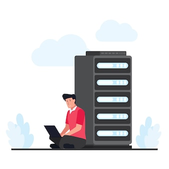 Mann sitzen und das cloud-hosting im server reparieren. flache cloud-hosting-illustration.
