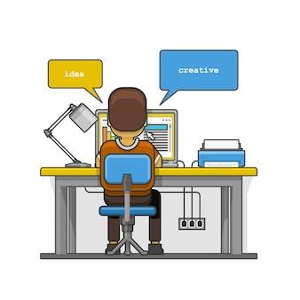 Mann sitzt am desktop und arbeitet am computer. vektor-illustration